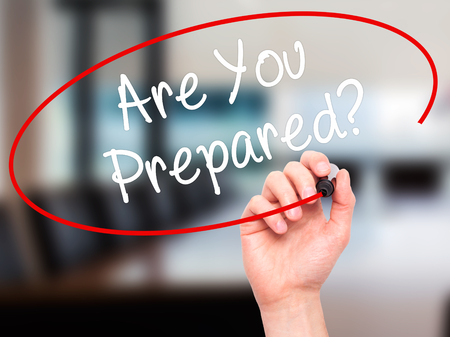 qualify: Man Hand writing Are you Prepared? with black marker on visual screen. Isolated on background. Business, technology, internet concept. Stock Photo Stock Photo