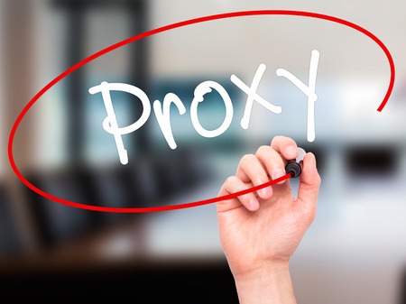 public address: Man Hand writing Proxy with black marker on visual screen. Isolated on background. Business, technology, internet concept. Stock Photo Stock Photo