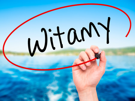hi back: Man Hand writing Witamy (Welcome in Polish) with black marker on visual screen. Isolated on background. Business, technology, internet concept. Stock Photo Stock Photo
