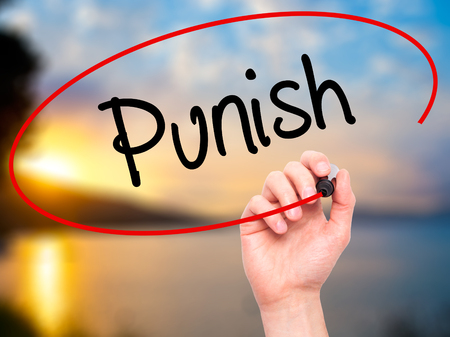 Man Hand writing Punish with black marker on visual screen. Isolated on background. Business, technology, internet concept. Stock Photo