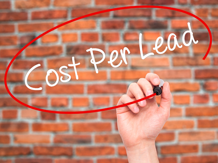 cpl: Man Hand writing Cost Per Lead with black marker on visual screen. Isolated on background. Business, technology, internet concept. Stock Photo Stock Photo