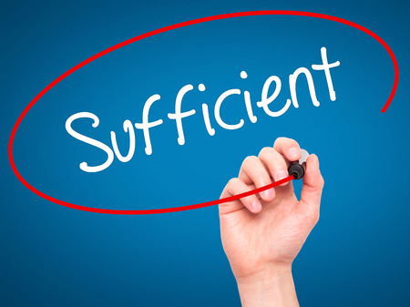 sufficient: Man Hand writing Sufficient with black marker on visual screen. Isolated on background. Business, technology, internet concept. Stock Photo