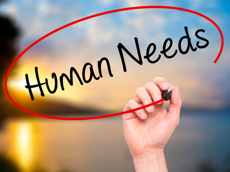 point of demand: Man Hand writing Human Needs with black marker on visual screen. Isolated on background. Business, technology, internet concept. Stock Photo