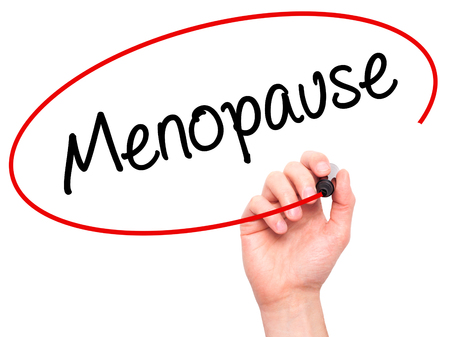 progesterone: Man Hand writing Menopause with black marker on visual screen. Isolated on background. Business, technology, internet concept. Stock Photo