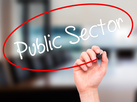 practioner: Man Hand writing Public Sector with white marker on visual screen. Isolated on background. Business, technology, internet concept. Stock Photo Stock Photo