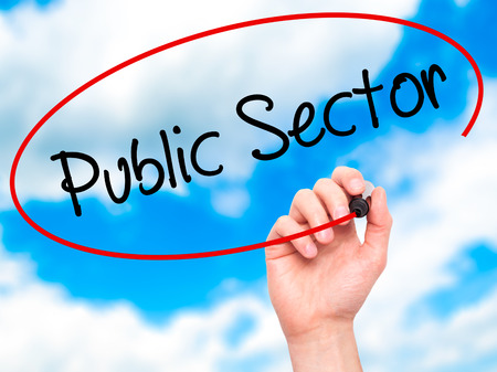 practioner: Man Hand writing Public Sector with black marker on visual screen. Isolated on background. Business, technology, internet concept. Stock Photo
