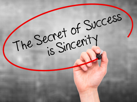 esteemed: Man Hand writing The Secret of Success is Sincerity with black marker on visual screen. Isolated on background.