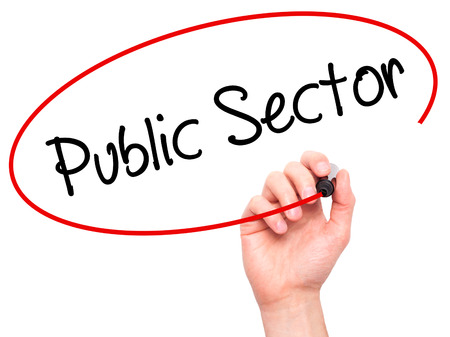 practioner: Man Hand writing Public Sector with black marker on visual screen. Isolated on background. Stock Photo