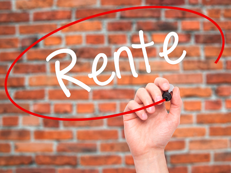 Man Hand writing Rente (Pension in German) with black marker on visual screen. Isolated on background. Business, technology, internet concept. Stock Photo