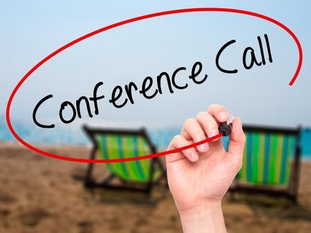 teleconferencing: Man Hand writing Conference Call with black marker on visual screen. Isolated on background. Business, technology, internet concept. Stock  Photo Stock Photo