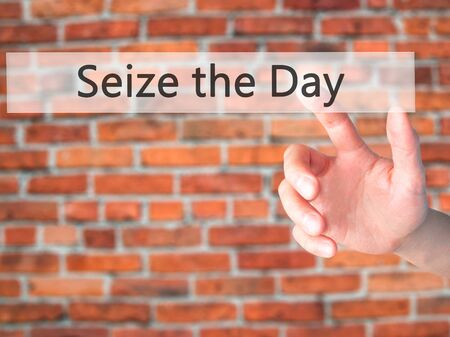 positiveness: Seize the Day - Hand pressing a button on blurred background concept . Business, technology, internet concept. Stock Photo