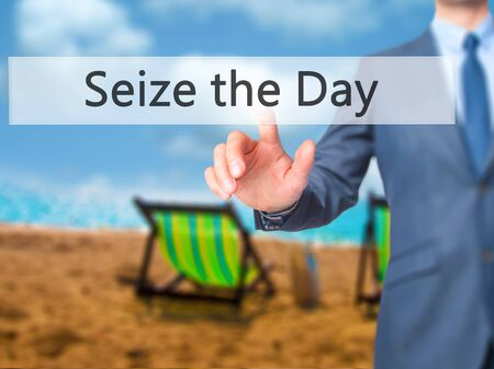 seize: Seize the Day - Businessman hand pressing button on touch screen interface. Business, technology, internet concept. Stock Photo