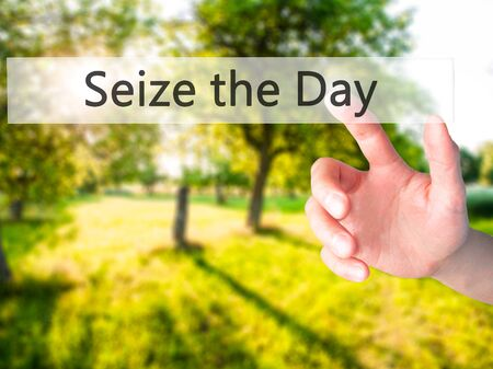 seize: Seize the Day - Hand pressing a button on blurred background concept . Business, technology, internet concept. Stock Photo