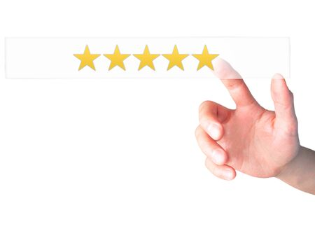 restaurant rating: Five star rating - Hand pressing a button on blurred background concept . Business, technology, internet concept. Stock Photo
