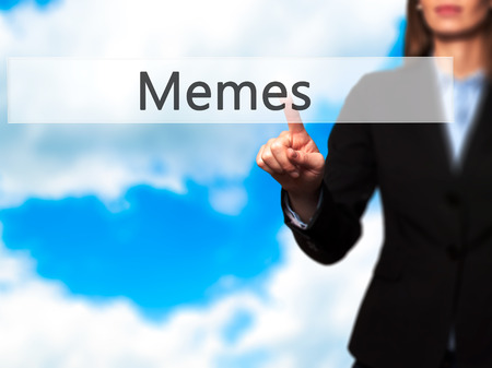 memes: Memes - Businesswoman hand pressing button on touch screen interface. Business, technology, internet concept. Stock Photo Stock Photo