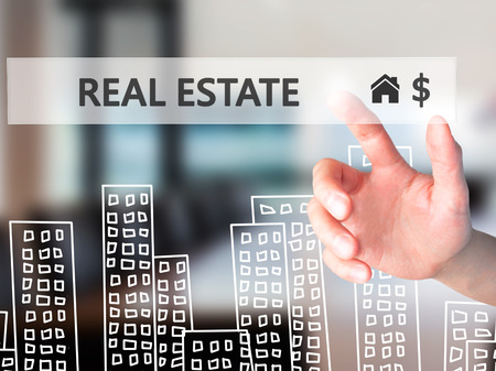 renter: Real estate agent pressing button on virtual screen. Man finger on home icon. Business technology concept. Isolated on office. Stock Image Stock Photo