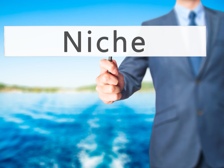 specialize: Niche - Businessman hand holding sign. Business, technology, internet concept. Stock Photo Stock Photo