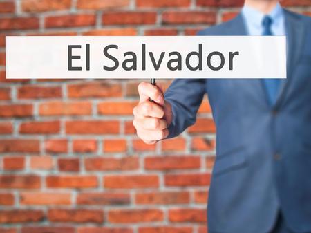 el salvadoran: El Salvador - Businessman hand holding sign. Business, technology, internet concept. Stock Photo Stock Photo