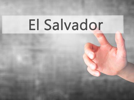 el salvadoran: El Salvador - Hand pressing a button on blurred background concept . Business, technology, internet concept. Stock Photo Stock Photo