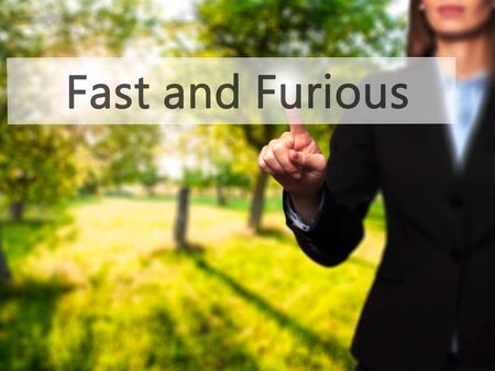 fastness: Fast and Furious - Businesswoman hand pressing button on touch screen interface. Business, technology, internet concept. Stock Photo Stock Photo