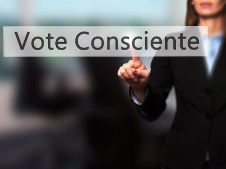 silva: Vote Consciente - Businesswoman hand pressing button on touch screen interface.