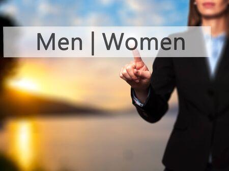 challenging sex: Men Women - Businesswoman hand pressing button on touch screen interface.