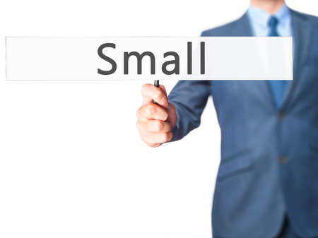 minimize: Small - Businessman hand holding sign. Business, technology, internet concept. Stock Photo
