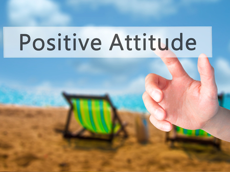 agradecimiento: Positive Attitude - Hand pressing a button on blurred background concept . Business, technology, internet concept. Stock Photo