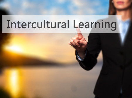 intercultural: Intercultural Learning - Businesswoman hand pressing button on touch screen interface. Business, technology, internet concept. Stock Photo