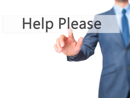 need direction: Help Please - Businessman hand pressing button on touch screen interface. Business, technology, internet concept. Stock Photo Stock Photo