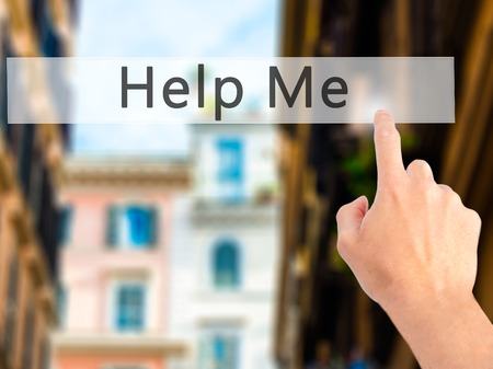 help me: Help Me - Hand pressing a button on blurred background concept . Business, technology, internet concept. Stock Photo Stock Photo
