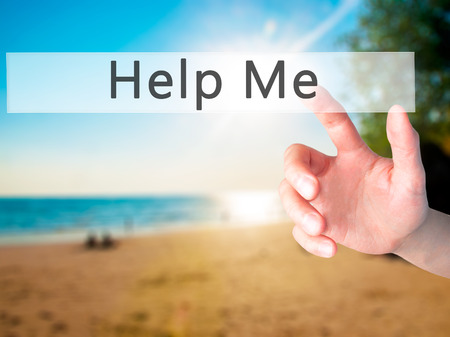 overwhelming: Help Me - Hand pressing a button on blurred background concept . Business, technology, internet concept. Stock Photo Stock Photo