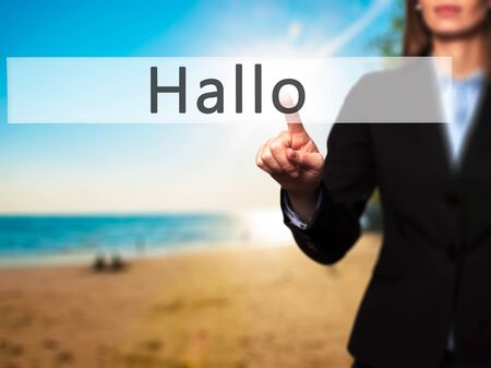 hallo: Hallo (Hello in German) - Businesswoman hand pressing button on touch screen interface. Business, technology, internet concept. Stock Photo Stock Photo