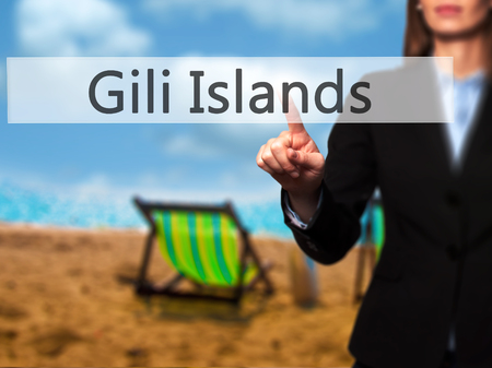 ferien: Gili Islands - Businesswoman hand pressing button on touch screen interface. Business, technology, internet concept. Stock Photo