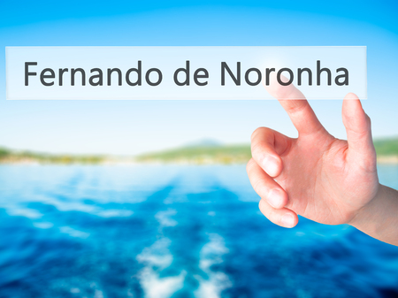 accommodating: Fernando de Noronha - Hand pressing a button on blurred background concept . Business, technology, internet concept. Stock Photo