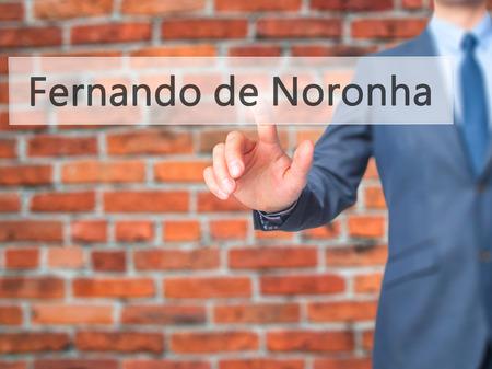 accommodating: Fernando de Noronha - Businessman hand pressing button on touch screen interface. Business, technology, internet concept. Stock Photo