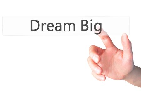street wise: Dream Big - Hand pressing a button on blurred background concept . Business, technology, internet concept. Stock Photo Stock Photo
