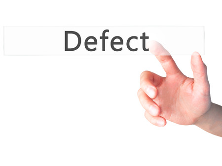 bad leadership: Defect - Hand pressing a button on blurred background concept . Business, technology, internet concept. Stock Photo