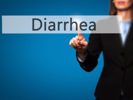 gastroenteritis: Diarrhea - Business woman point finger on push touch screen and pressing digital virtual button. Business, technology, internet concept. Stock Photo Stock Photo