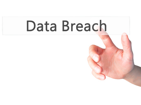 backdoor: Data Breach - Hand pressing a button on blurred background concept . Business, technology, internet concept. Stock Photo
