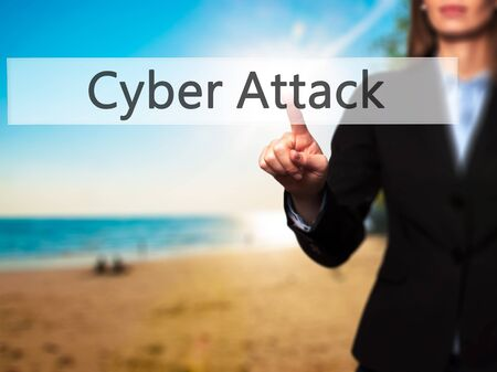 cyber war: Cyber Attack -  Female touching virtual button. Business, internet concept. Stock Photo