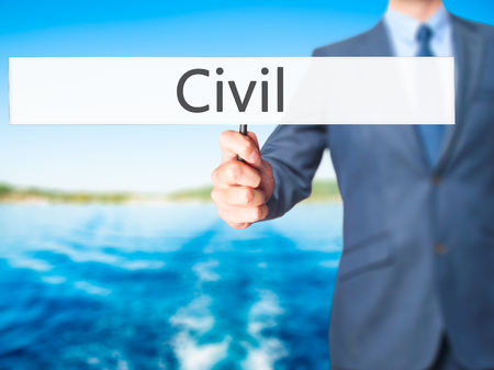 repeal: Civil - Businessman hand holding sign. Business, technology, internet concept. Stock Photo Stock Photo