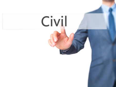Civil - Businessman hand pressing button on touch screen interface. Business, technology, internet concept. Stock Photo