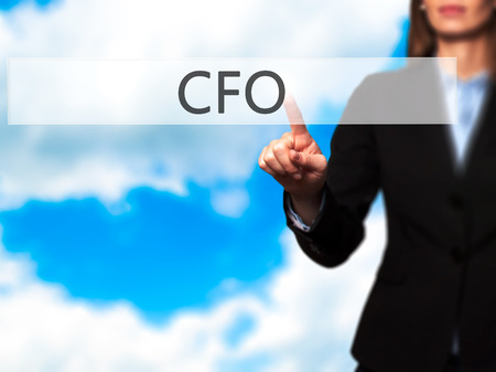 CFO (Chief Financial Officer) - Isolated female hand touching or pointing to button. Business and future technology concept. Stock Photo Stock Photo