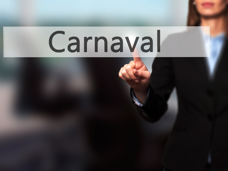 fiesta popular: Carnival - Isolated female hand touching or pointing to button. Business and future technology concept. Stock Photo