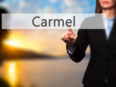 carmel: Carmel - Isolated female hand touching or pointing to button. Business and future technology concept. Stock Photo Stock Photo