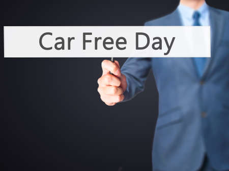 stock car: Car Free Day - Business man showing sign. Business, technology, internet concept. Stock Photo Stock Photo