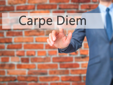 seize: Carpe Diem - Businessman press on digital screen. Business,  internet concept. Stock Photo