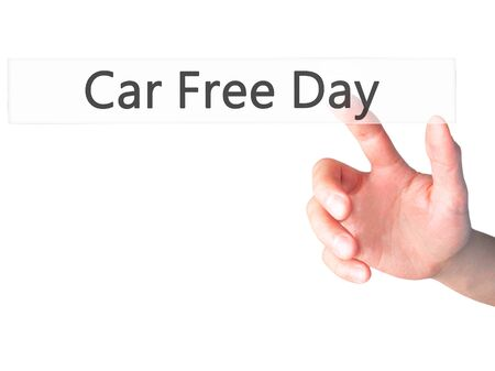 stock photo: Car Free Day - Hand pressing a button on blurred background concept . Business, technology, internet concept. Stock Photo