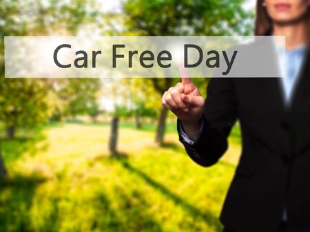 Car Free Day - Isolated female hand touching or pointing to button. Business and future technology concept. Stock Photo Stock Photo